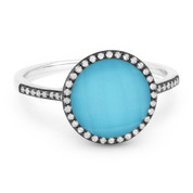 2.42ct Checkerboard Blue Turquoise / White Topaz Doublet & Round Diamond Cut Halo Ring in 14k White & Black Gold