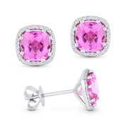 2.69ct Cushion Cut Pink Lab-Created Sapphire & Round Diamond 8-Prong Square-Halo Stud Earrings in 14k White Gold