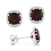 2.73ct Cushion Cut Garnet & Round Diamond 8-Prong Square-Halo Stud Earrings in 14k White Gold