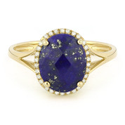 2.87ct Checkerboard Cut Blue Lapis & Round Diamond Oval Halo Right-Hand Ring in 14k Yellow Gold