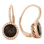 2.92ct Round Brilliant Cut Smoky Quartz & Diamond Leverback Drop Earrings in 14k Rose Gold