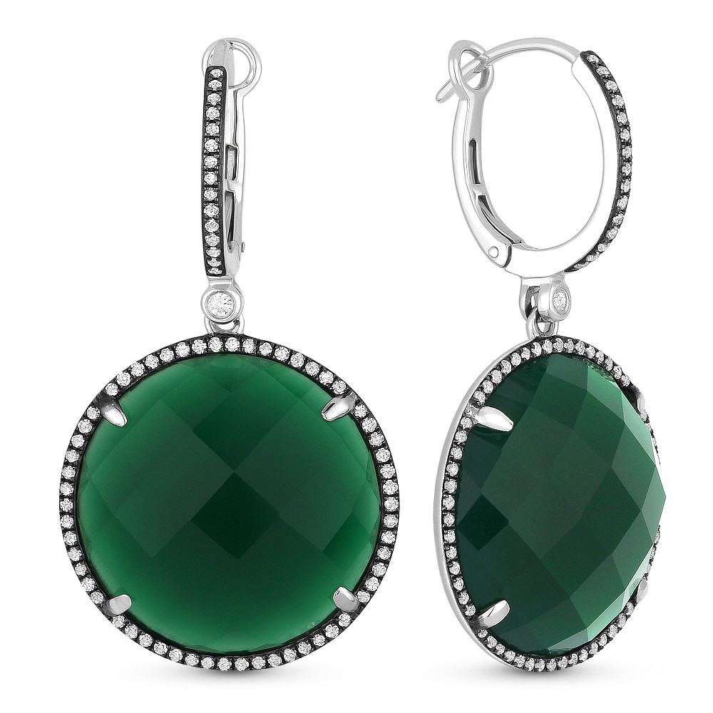 5ed8d7b89be62 24.78ct Checkerboard Green Agate & Round Cut Diamond Halo Dangling Earrings  in 14k White Gold
