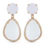 26.60ct White Chalcedony & Diamond Pave Dangling Earrings in 14k Rose Gold
