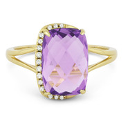 3.44ct Checkerboard Cushion Amethyst & Round Cut Diamond Right-Hand Fashion Ring in 14k Yellow Gold