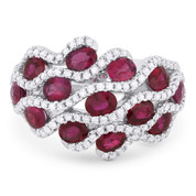 3.59ct Oval Cut Ruby & Round Diamond Pave Right-Hand Statement Ring in 18k White Gold