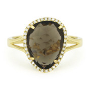 3.94ct Checkerboard Cut Smoky Topaz & Round Cut Diamond Halo Right-Hand Ring in 14k Yellow Gold