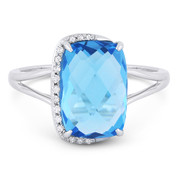 4.79ct Checkerboard Cushion Blue Topaz & Round Cut Diamond Right-Hand Fashion Ring in 14k White Gold