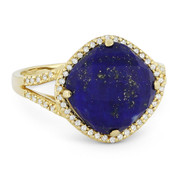 5.93ct Checkerboard Cushion Blue Lapis & Round Cut Diamond Right-Hand Cocktail Ring in 14k Yellow Gold