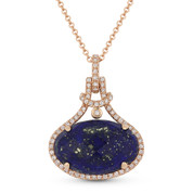 6.41ct Checkerboard Oval Blue Lapis & Round Cut Diamond Halo Pendant & Chain Necklace in 14k Rose Gold