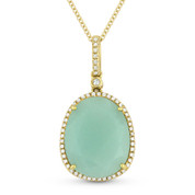 6.87ct Pear-Shaped Green Aventurine & Round Cut Diamond Halo Pendant & Chain Necklace in 14k Yellow Gold