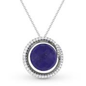 7.78ct Checkerboard Blue Lapis & Round Cut Diamond Halo Pendant & Chain Necklace in 14k White Gold