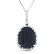 8.21ct Pear-Shaped Sapphire & Round Cut Diamond Halo Pendant & Chain Necklace in 14k White Gold