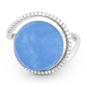 8.38ct Checkerboard Blue Jade & Diamond Right-Hand Cocktail Ring in 14k White Gold