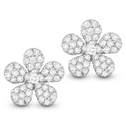 0.55ct Round Cut Diamond Pave Flower Charm Stud Earrings in 14k White Gold