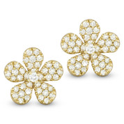 0.55ct Round Cut Diamond Pave Flower Charm Stud Earrings in 14k Yellow Gold