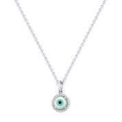 Evil Eye Charm Mother-of-Pearl & Diamond 5mm Pendant in 14k White Gold w/ Chain Necklace