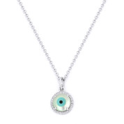 Evil Eye Charm Mother-of-Pearl & Diamond 6mm Pendant in 14k White Gold w/ Chain Necklace
