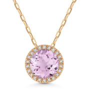 1.46ct Round Cut Pink Amethyst & Diamond Circle Halo Pendant & Chain Necklace in 14k Rose Gold