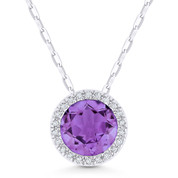 1.25ct Round Cut Amethyst & Diamond Circle Halo Pendant & Chain Necklace in 14k White Gold