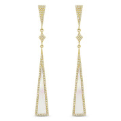 Mother of Pearl & 0.50ct Pave Dangling Long-Triangle Stiletto Earrings in 14k Yellow Gold