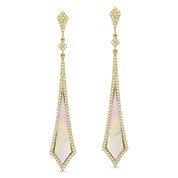 Pink Mother-of Pearl & 0.50ct Diamond Pave Arrow-Style Dangling Stiletto Earrings in 14k Yellow Gold