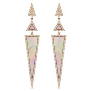 Pink Mother-of-Pearl & 0.52ct Diamond Pave Dangling Multi-Triangle Stiletto Earrings in 14k Rose Gold