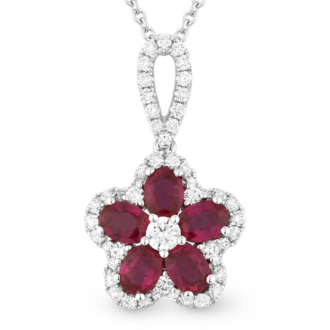 146ct oval cut ruby round diamond pave flower pendant in 18k image 1 aloadofball Choice Image