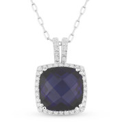 4.65ct Checkerboard Cushion Lab-Created Blue Sapphire & Round Cut Diamond Pendant & Chain Necklace in 14k White Gold