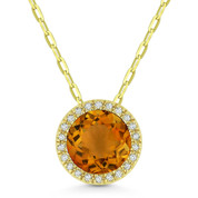 1.22ct Round Cut Citrine & Diamond Circle Halo Pendant & Chain Necklace in 14k Yellow Gold