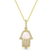 0.85ct Mother-of-Pearl & Diamond Hamsa Hand Evil Eye Charm Pendant in 14k Yellow Gold w/ Chain Necklace