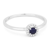 0.18ct Round Cut Lab-Created Blue Sapphire & Diamond Circle-Halo Promise Ring in 14k White Gold