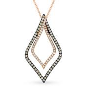 0.55ct White & Brown Diamond Pendant & Chain Necklace in 14k Rose & Black Gold