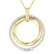1.08ct Round Cut Diamond Eternity Double-Circle Pendant & Chain Necklace in 14k Yellow Gold