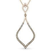 0.87ct Round Cut Brown & White Diamond Pave Stiletto Pendant & Chain Necklace in 14k Rose & Black Gold