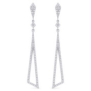 0.40ct Round Cut Diamond Pave Dangling Tapered Open-Stiletto Earrings w/ Pushbacks in 14k White Gold