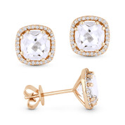 2.86ct Cushion Cut White Topaz & Round Diamond 8-Prong Square-Halo Stud Earrings in 14k Rose Gold