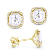 2.78ct Cushion Cut White Topaz & Round Diamond 8-Prong Square-Halo Stud Earrings in 14k Yellow Gold