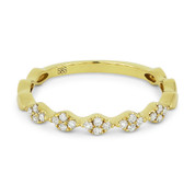 0.14ct Round Cut Diamond Multi-Cluster Stackable Right-Hand Ring / Band in 14k Yellow Gold