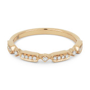0.11ct Round Cut Diamond Stackable Fashion Band / Anniversary Ring in 14k Rose Gold