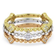 0.35ct Round Cut Diamond Flower & Bead Stackable 3-Ring Set in 14k White, Yellow, & Rose Gold