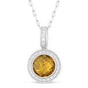 1.40ct Checkerboard Citrine & Round Cut Diamond Halo Pendant & Chain Necklace in 14k White Gold