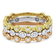 0.33ct Round Cut Diamond Bezel & Bead Stackable 3-Ring Set in 14k White, Yellow, & Rose Gold