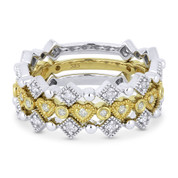0.43ct Round Cut Diamond Heart, Square, Bezel, & Bead Stackable 3-Ring Set in 14k White & Yellow Gold