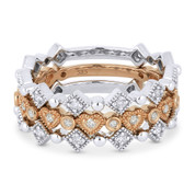 0.42ct Round Cut Diamond Heart, Square, Bezel, & Bead Stackable 3-Ring Set in 14k White & Rose Gold