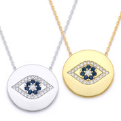 Evil Eye 17mm Circle Charm Pendant & Chain Necklace w/ Cubic Zirconia Crystals in .925 Sterling Silver - EYESN62