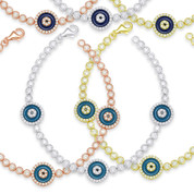 Evil Eye Enamel Bead Triple-Charm & Bezel Link Bracelet w/ CZ Crystals in .925 Sterling Silver - EYES67