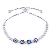 Evil Eye Multi-Charm & Bezel Link Slide-Lock Bracelet w/ Cubic Zirconia Crystals in .925 Sterling Silver - EYES72-BlueW