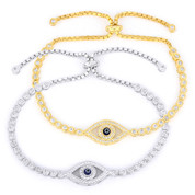 Evil Eye Enamel Bead Charm & Bezel Link Slide-Lock Bracelet w/ CZ Crystals in .925 Sterling Silver - EYES73