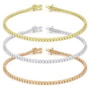 2mm Cubic Zirconia Crystal Basket-Setting Tennis Bracelet in .925 Sterling Silver - TB001-2MM-SL
