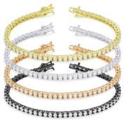 2.5mm Cubic Zirconia Crystal Basket-Setting Tennis Bracelet in .925 Sterling Silver - TB001-2.5MM-SL